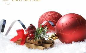 Картинка праздник, шары, игрушки, Новый Год, Рождество, красные, Christmas, шишки, поздравление, New Year, елочные