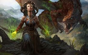 Картинка глаза, девушка, магия, дракон, арт, колдунья, Magic The Gathering