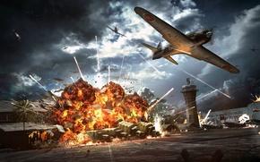 Картинка огонь, пламя, взрывы, нападение, аэродром, самолёты, бомбардировка, WW2, ангары, авиации, японской, Пёрл-Харбор, 7 декабря 1941 …