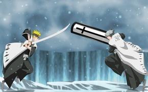 Картинка demon, sword, ice, game, Bleach, Naruto, blizzard, anime, cross, blue eyes, katana, crossover, fight, ken, …