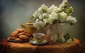 Обои цветы, чай, натюрморт, оладьи, спирея