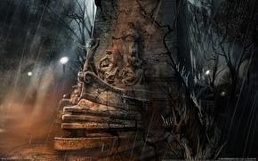 Картинка фантастика, дождь, корабль, статуя