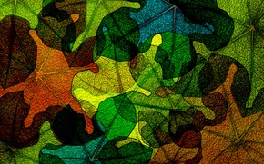 Картинка осень, стекло, листья, абстракция, обои, цвет, витраж, пятно