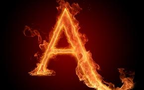 Картинка огонь, пламя, обои, буква, литера