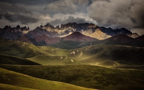 Картинка тучи, пейзаж, горы, горный хребет, природа