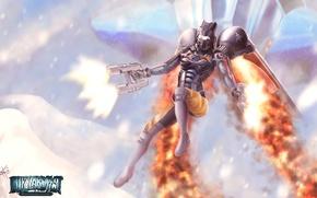 Картинка оружие, девушка, Starcraft, Reaper, ранец, выстрелы, костюм