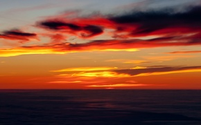 Картинка море, небо, облака, берег, отлив, зарево