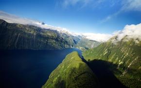 Картинка горы, Новая Зеландия, New Zealand, фьорд