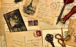 Картинка старые, ключ, ручка, фотографии, Эйфелева башня, vintage, винтаж, бумаги, открытка, печать, письма, перьевая