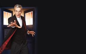 Картинка взгляд, рука, костюм, актер, мужчина, будка, рубашка, черный фон, пиджак, Doctor Who, Доктор Кто, ТАРДИС, ...