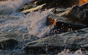 Картинка море, пена, закат, камни, скалы, прибой
