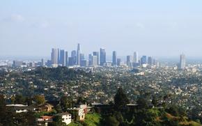 Картинка деревья, парк, дома, небоскребы, мегаполис, Los Angeles, Downtown
