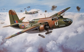Картинка рисунок, штурмовик, бомбы, Douglas A-20 Havoc, лёгкий бомбардировщик, ДБ-7 Бо́стон