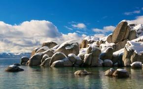 Картинка небо, облака, снег, озеро, камни, сша, калифорния, тахо