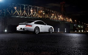 Картинка ночь, мост, порше, porsche 911 carrera