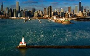 Картинка Чикаго, порт, США, гавань, озеро Мичиган
