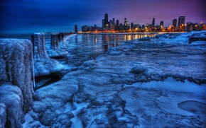 Картинка зима, пейзаж, город, вид, лёд