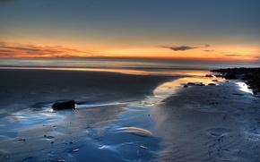 Обои песок, море, восход