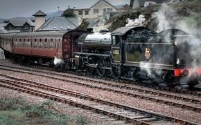 Обои паровоз, пассажирские вагоны, тендер, состав поезда, дорога, люди, станция, щебень, железная, уголь, платформа, шпалы, стрелки, ...