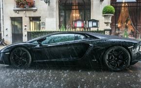 Картинка вода, дождь, черный, лужа, ламбо, суперкар, диски, погода, lambo, авентадор, Lamborghini Aventador