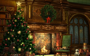Картинка шарики, украшения, огни, стиль, комната, праздник, игрушки, новый год, рождество, интерьер, подарки, ёлка, камин, гирлянды, ...
