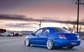 Картинка дорога, машины, синий, завод, Subaru, wrx, impreza, sti