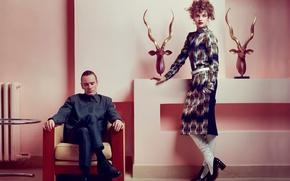 Картинка интерьер, фотосессия, Michael Fassbender, Vogue, Natalia Vodianova