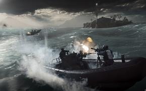 Картинка море, волны, вода, шторм, оружие, ветер, война, лодки, солдаты, battlefield 4