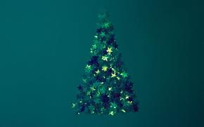 Картинка синий, новый год, звёзды, ёлка
