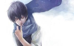 Картинка снег, шарф, сигарета, мужчина, курит, Gintama, Hijikata Toushirou, гинтама