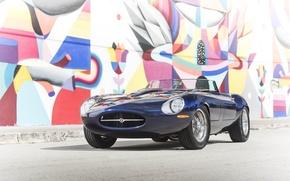 Картинка стена, граффити, Jaguar, wall, Eagle, спорткар, sportcar, SPEEDSTER, E-TYPE