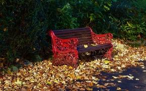 Картинка скамейка, парк, листва, Осень, листопад, park, autumn, leaves, fall