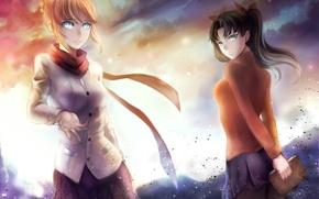 Картинка небо, облака, закат, улыбка, девушки, аниме, арт, saber, tohsaka rin, fate/stay night, ragecndy
