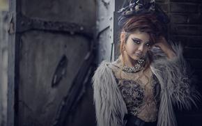Картинка взгляд, украшения, стиль, модель, ожерелье, макияж, азиатка, причёска, шубейка