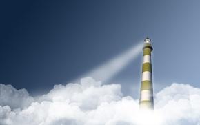 Картинка облака, свет, маяк