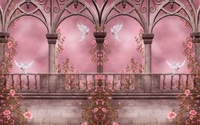 Картинка цветы, flowers, columns, arches, pigeons, розовый сад, Rose Garden, розы, колонны, doves, garlands, гирлянды, арки, …