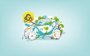 Картинка авто, абстракция, цветное, smart