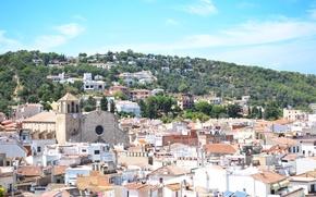 Картинка город, дома, церковь, Испания
