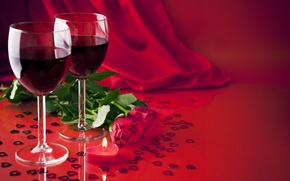 Обои любовь, подарок, вино, розы, бокалы, love, heart, romantic, Valentine's Day