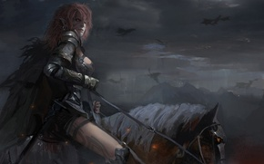 Картинка небо, взгляд, знак, дракон, лошадь, рисунок, Девушка, доспехи, воин