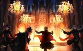Картинка замок, аниме, арт, парни, люстры, Ensemble Stars!