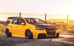 Картинка Volkswagen, yellow, Golf, mk5, Hugo Silva