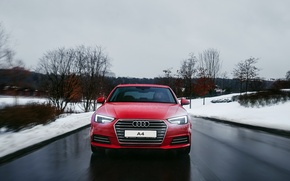 Картинка зима, дорога, снег, Audi, ауди, красная