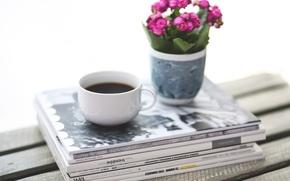 Картинка цветы, кофе, еда, завтрак, журналы