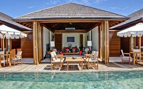Картинка pool, bungalow, water villa, ocean suite