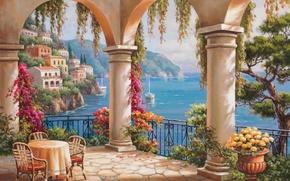 Картинка цветы, картина, колонны, живопись, sea, терраса, painting, Sung Kim, Italian coast