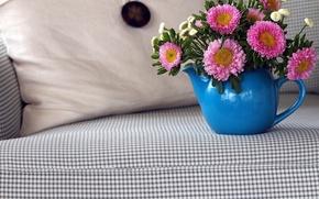 Картинка цветы, диван, букет
