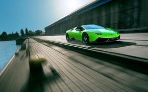 Картинка car, авто, green, Lamborghini, supercar, в движении, Spyder, speed, ламборгини, Novitec, Torado, Huracan
