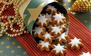 Картинка игрушки, Новый Год, печенье, Рождество, сладости, бусы, десерт, выпечка, праздники, глазурь, новогодние, новогоднее