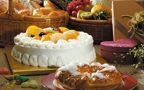 Картинка стол, апельсины, киви, тарелка, хлеб, конфеты, пирог, виноград, торт, фрукты, злаки, крем, десерт, вишни, сладкое, …